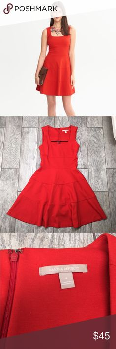 Banana republic red fit and flare dress 4 Banana republic red fit and flare dress. Soft but structured and stretchy material make for a very flattering fit. Worn once. EUC- no flaws. Size 4 but can fit up to a 6 Banana Republic Dresses