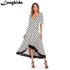 3515db10a04f 2018 New Women Beach Sexy Summer Loose Dress Half Sleeve Ruffles Print  Empire V-Neck