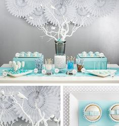 Here's a bridal shower dessert table, styled by Kirki Schultz (props) and Maddy Hague (food), that would work perfectly for a baby shower...