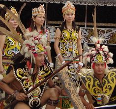 Traditional costumes of the Dayak people - East Kalimantan, Indonesia Borneo Travel, Laos, Indonesian Wedding, Indonesian Art, Rare Clothing, Foto Wedding, Wedding Costumes, Cultural Diversity, People Around The World