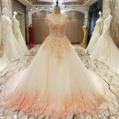 AHS044 New Arrival A-Line Tulle Train Prom Dresses with Flower Appliques 2017