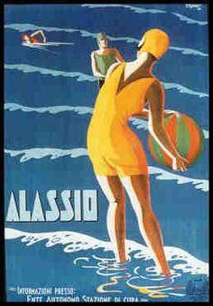 By  Filippo Romoli, c 1 9 2 9, Water Games, Alassio, Italy.                              Alassio