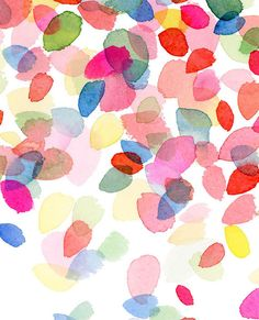 Colorful Dots Falling- Watercolor Art Print