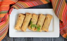 Spring Rolls - Goodness of veggies rolled into a yummy snack! Tastes best when served hot with spicy sauce. Indian Snacks, Indian Food Recipes, Ethnic Recipes, India Food, Spicy Sauce, Spring Rolls, Taste Buds, Yummy Snacks, Veggies
