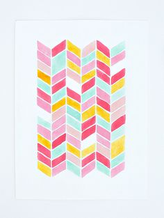 chevron watercolor PRINT -  geometric pattern - nursery artwork -  pink, yellow, mint, turquoise, coral