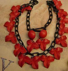 Vintage Celluloid Funeral Flower necklace Red by vintagesparkles, $125.00