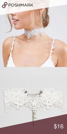 🆕 BEAUTIFUL WHITE LACE CHOKER 🆕 beautiful white lace choker. Perfect wedding type choker. Stylish and well crafted choker. Imported, lace ribbon/silver plated alloy metal. Reasonable offers/bundles welcome, no trades. My environment is clean/organized/pet/smoke free. Please make any inquires, all sales are final on PM. Thank you for shopping my boutique. DARLING Jewelry Necklaces