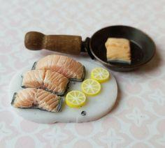 Miniature food, miniature poached salmon, dollhouse food, doll house kitchen food, miniature fish by MagentaMinis on Etsy