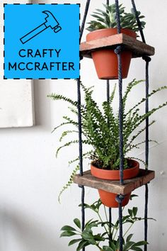 """12 Awesome DIY Projects For Spring #refinery29  http://www.refinery29.com/64819#slide9  Tiered Hanging Pots by Design*Sponge   Photo editor Laura Miller says, """"I've been hoarding house plants all winter (I think in response to the endless cold weather!) and this would be an awesome way to display them inside."""""""