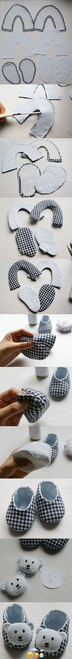 We are going to show you some amazing ideas to craft the DIY baby shoes of your own. So check out these DIY baby shoes free patterns and tutorials to Baby Patterns, Doll Patterns, Sewing Patterns, Fabric Crafts, Sewing Crafts, Sewing Projects, Sewing For Kids, Baby Sewing, Shoe Pattern
