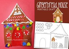 Free Gingerbread House Printable Craft from Learn Create Love