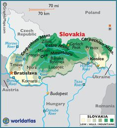 Slovakia Map / Geography of Slovakia / Map of Slovakia Carpathian Mountains, Tatra Mountains, Destinations, Central Europe, Budapest Hungary, Eastern Europe, Slovenia, Czech Republic, Austria