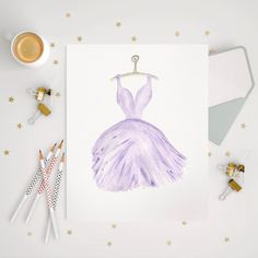 Original Watercolour Print Purple watercolor Teen by EllowDee