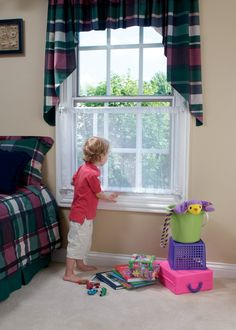 Kidco Mesh Window Guard - Available at B-Safe. Could maybe use to prevent cat from scratching window screen? Window Bars, Open Window, Cool Diy, Two Story Windows, Brown House, Home Fix, Sliding Windows, Window Screens, Childproofing