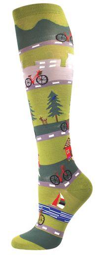 Women's Novelty Knee High Socks - Bike Ride From Socksmith Designs
