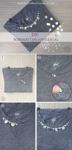 DIY: Bordado con lentejuelas. Paso a paso fácil de hacer. #DiyExpress Etsy Embroidery, Embroidery Leaf, Embroidery Patterns Free, Fashion Tips For Women, Diy Fashion, Fashion Design, Boho Beautiful, Design Blog, Antique Lace