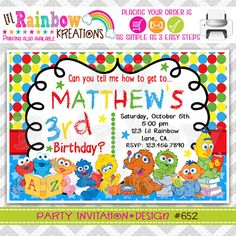 652 DIY Baby Sesame Street Party Invitation Or by LilRbwKreations