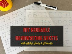 DIY Reusable Handwriting Sheets with Sticker Sheets and Silhouette Cursive Handwriting Practice, Handwriting Sheets, Handwriting Worksheets, Tracing Worksheets, Silhouette School Blog, Silhouette Studio, Silhouette Cameo Tutorials, Silhouette Projects, Tracing Sheets