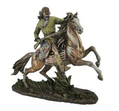 GERONIMO ON HORSEBACK Real Bronze Powder Cast Native American Apache Indian Warrior Sculpture Statue - This exquisitely designed statue honors Geronimo, the famed Apache warrior, on horseback.  It features hand painted accents and incredible details, making it a must have for any collector of Native American themed art.  $90.00