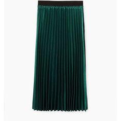 Metallic Pleated Skirt (3.110 RUB) ❤ liked on Polyvore featuring skirts, green pleated skirt, metallic skirt, mango skirts, green skirt and metallic pleated skirt