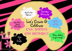 painting invitations kids | Paint party birthday invitation -- art party - arts ... | Kids Parties