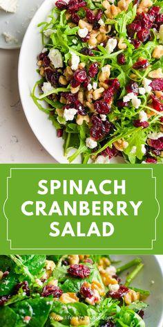 Arugula Salad Recipes, Side Salad Recipes, Salad Recipes For Dinner, Dinner Salads, Spinach Salad Recipes, Green Salad Recipes, Healthy Salad Recipes, Side Dish Recipes, Cranberry Walnut Salad