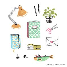 Desk supplies for The Big Book of Drawing by Flow Magazine - Sanny van Loon • Illustration | www.sannyvanloon.com