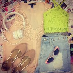 Sweet Citron #Forever21. neon bustier + nude flirty tank + destroyed jorts