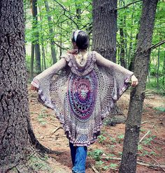 Free circular jacket pattern based on my Lotus Mandala Throw - I worked it with a bunch of recycled sweater yarn and handspun fingering weight yarn. For this reason, the yardage is just an estimate at this point until I work it again and get a better idea.
