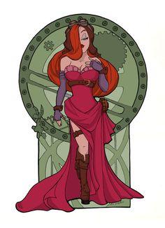 Steampunk Jessica Rabbit Nouveau Digital  Print. $25.00, via Etsy.
