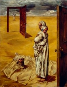 Maternity: Dorothea Tanning- emptiness and love because of the colors and how the mother is caressing her baby.