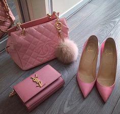 Lavender Chanel purse, YSL purse, and Louboutin heels - handbags, Luxury Purses, Luxury Bags, Ysl Purse, Clutch Bag, Ysl Bag, Chanel Handbags, Purses And Handbags, Pink Handbags, Burberry Handbags