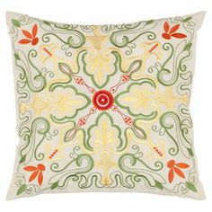 """Add a pop of pattern to your sofa or favorite arm chair with this cotton pillow, showcasing an eye-catching abstract floral motif.     Product: Set of 2 pillowsConstruction Material: PolyesterColor: MultiFeatures: Abstract floral motif  Inserts includedDimensions: 18"""" x 18"""" Cleaning and Care: Dry cleaning recommended"""