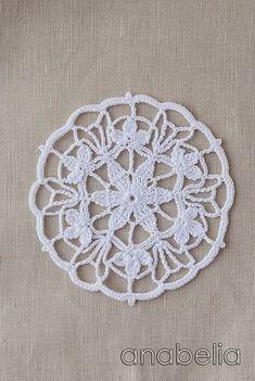 Crochet lace motif nr 3 by Anabelia Crochet Circles, Crochet Doily Patterns, Crochet Diagram, Crochet Chart, Crochet Squares, Love Crochet, Thread Crochet, Crochet Motif, Crochet Designs