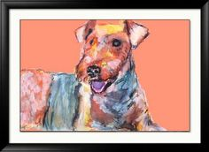 Airedale terrier Print, Colorful dog wall art in Peach and Orange tones. Watercolor art print, Airedale dog gift, Airedale… #dogs #art