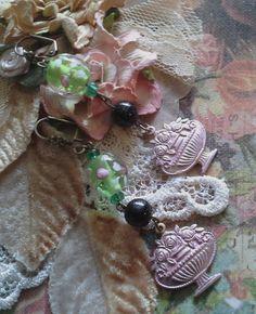 Lamp bead earrings  Dangle earrings Artisan jewelry by BEEBSCLOSET