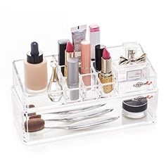 Bathroom Organization: Choice Fun Multifunctional Acrylic 2 Tiers Makeup Organizer Cosmetic Holder with Tray Grid and Compartments Transparent -- Check out the image by visiting the link.