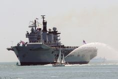 Final push: Illustrious is the last of the Invincible class of aircraft carriers which included the Ark Royal and Invincible which were intr. Hms Illustrious, Royal Navy Aircraft Carriers, Battle Ships, War Machine, Portsmouth, Ark, Great Britain, Sailing Ships, Planes