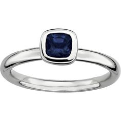 Personally Stackable Cushion-Cut Blue Sapphire Sterling Silver Ring ($104) ❤ liked on Polyvore featuring jewelry, rings, no color, sterling silver stackable rings, holiday jewelry, cocktail rings, polish jewelry and sterling silver blue sapphire ring