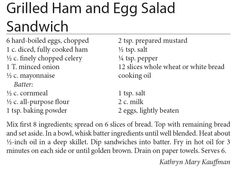 Grilled Ham and Egg Salad Sandwich - from The Authentic Amish Cookbook https://www.harvesthousepublishers.com/books/the-authentic-amish-cookbook