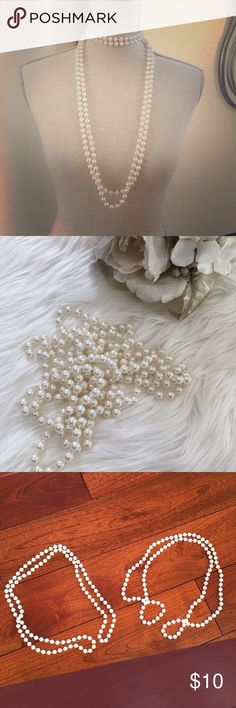 2 pearl necklace strand pair long choker pearls Pair of long pearl necklaces ! You can wear them alone or together or double up as choker ! Very versatile ! Jewelry Necklaces