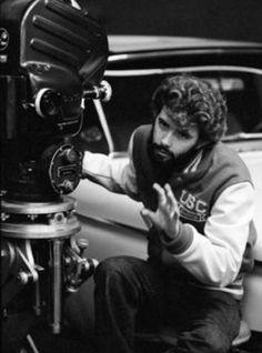 "George Lucas en el rodaje de ""American Graffiti"", 1973"