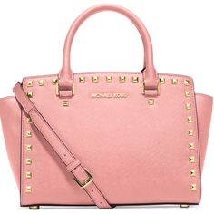 Michael Kors medium Selma studded Brand new with tag. Color: light pink with gold accents Michael Kors Bags Crossbody Bags