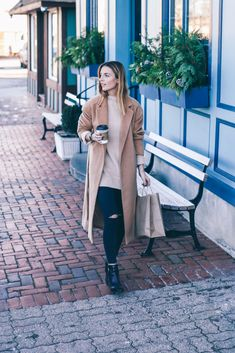 Nordstrom Topshop Long Wool Coat on Prosecco and Plaid