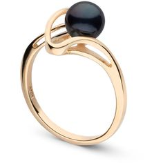 Cordon Collection Black Akoya Pearl Ring ($76) ❤ liked on Polyvore featuring jewelry, rings, 14k pearl ring, 14 karat gold ring, wrap rings, pearl jewelry and ribbon jewelry