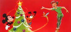 Vintage Disney Christmas Card - Mickey, Pluto & Peter Pan