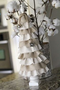 "I am in love with anything burlap.. (cotton balls are a good idea for ""snow"" as well)"