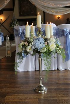 Flower Design Events: Gorgeous Blue & Blush Wedding Day of Heather & William at The Great Hall at Mains Daisy Decorations, Silver Party Decorations, Tent Decorations, Decoration Table, Candelabra Flowers, Candelabra Centerpiece, Centerpiece Ideas, Picture Wedding Centerpieces, Blue Centerpieces
