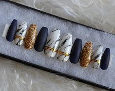 Matte Navy blue and marble nails with gold accents| Any size or shape| Fake nails| press on nails| holiday| Matte nails| Stiletto nails