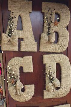 13 Twine letters. Customised. Each has by repurposedattherough